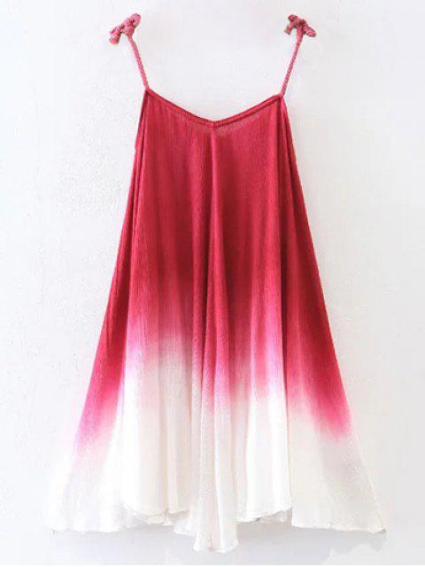 fancy Ombre Trapeze Slip Dress - RED L Mobile