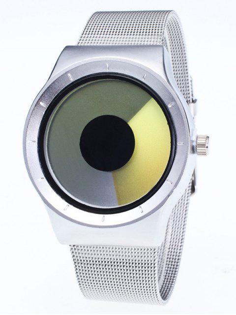 fashion Metal Mesh Ombre Quartz Watch - YELLOW  Mobile