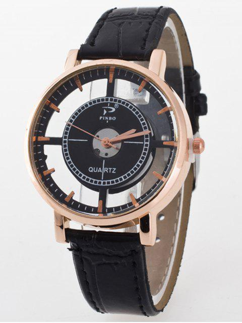 ladies See-Through Quartz Watch - BLACK  Mobile