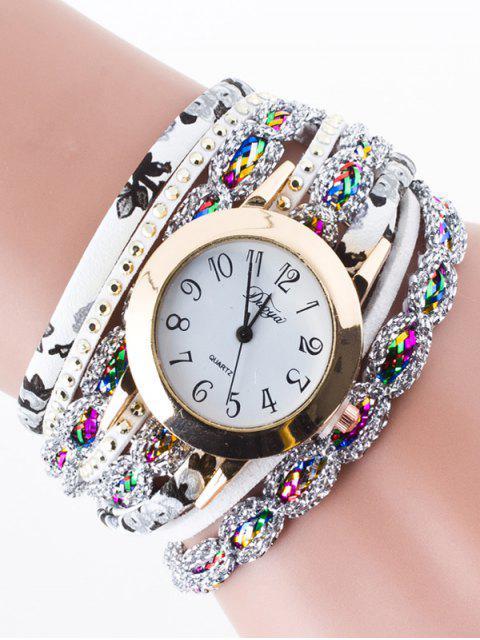 shops Rhinestone Wrap Bracelet Watch - WHITE  Mobile