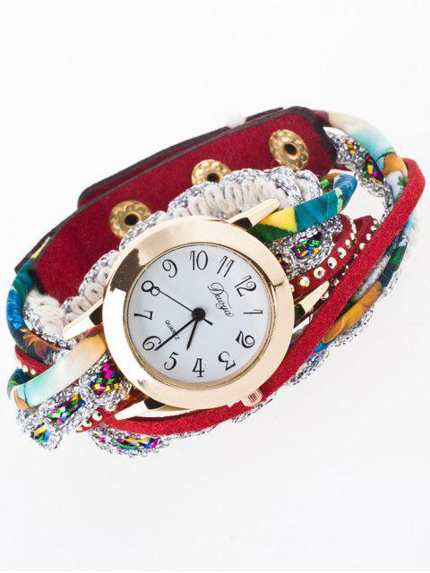 latest Rhinestone Wrap Bracelet Watch - RED  Mobile