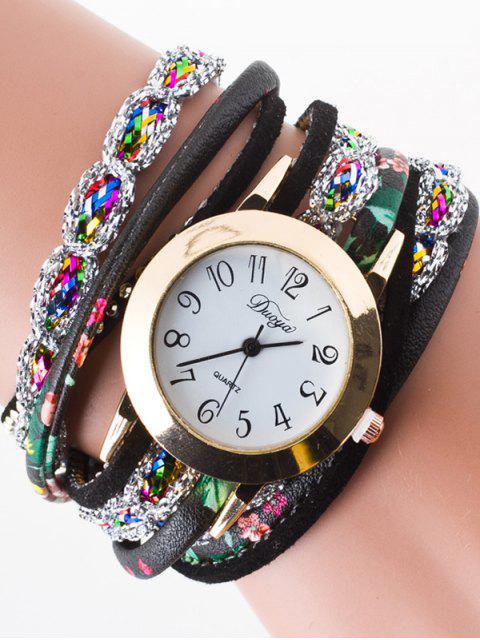 trendy Rhinestone Wrap Bracelet Watch - BLACK  Mobile
