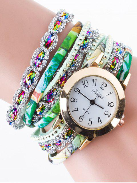 chic Rhinestone Wrap Bracelet Watch -   Mobile