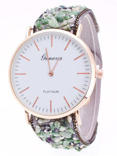 unique Faux Stone Studded Analog Watch - GRAY  Mobile