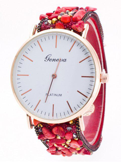 sale Faux Stone Studded Analog Watch -   Mobile