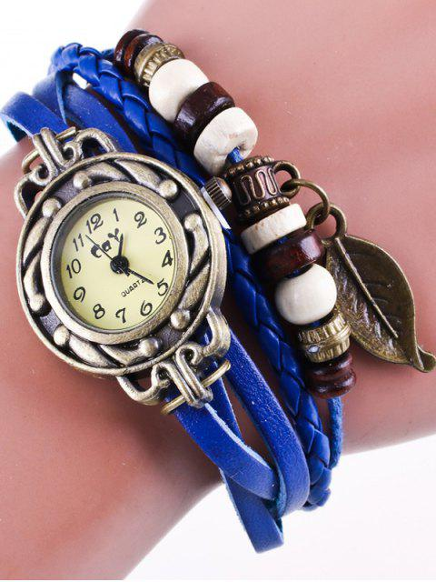 lady Faux Leather Strand Bracelet Watch - BLUE  Mobile