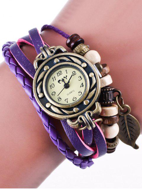 online Faux Leather Strand Bracelet Watch - PURPLE  Mobile
