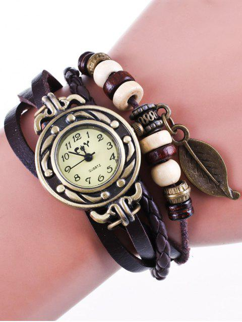 new Faux Leather Strand Bracelet Watch - COFFEE  Mobile