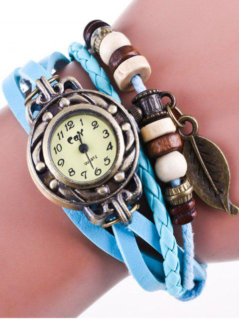 outfit Faux Leather Strand Bracelet Watch - AZURE  Mobile