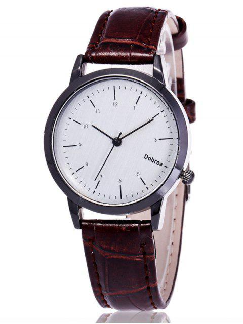 shop Faux Leather Analog Wrist Watch - WHITE  Mobile