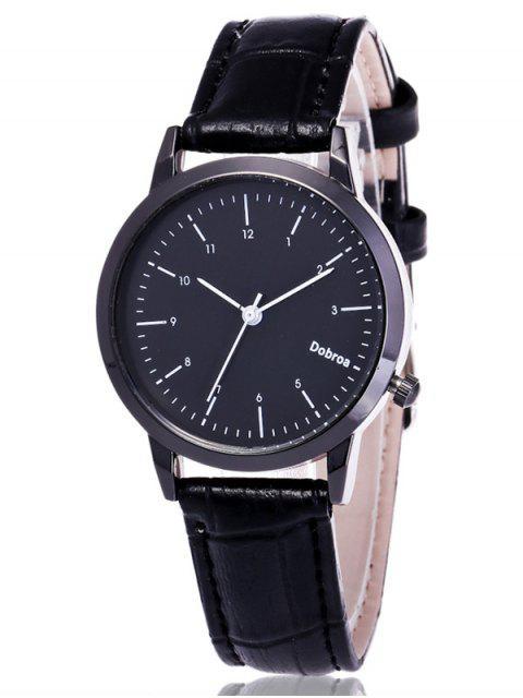 shops Faux Leather Analog Wrist Watch - BLACK  Mobile
