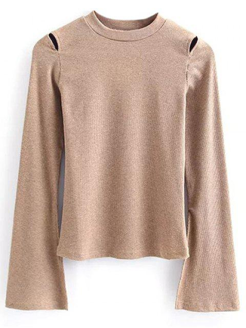 new Flare Sleeve Cut Out Ribbed Knitwear - KHAKI S Mobile
