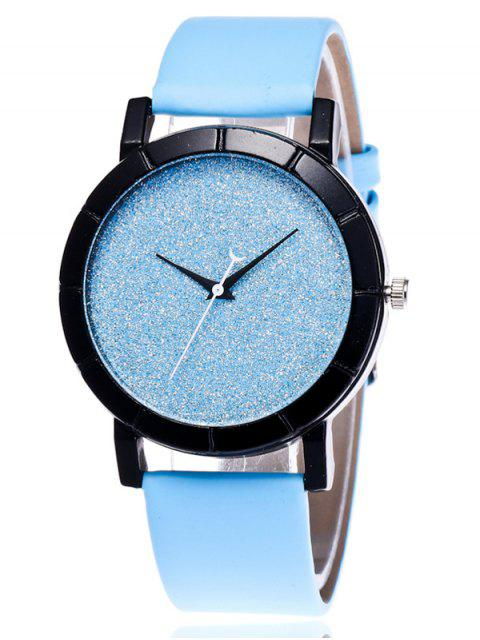 sale Faux Leather Glitter Analog Watch -   Mobile