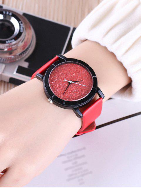 unique Faux Leather Glitter Analog Watch - RED  Mobile