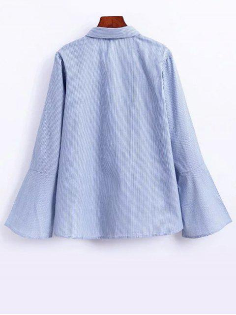 sale Flare Sleeve Embroidered Striped Shirt - STRIPE S Mobile