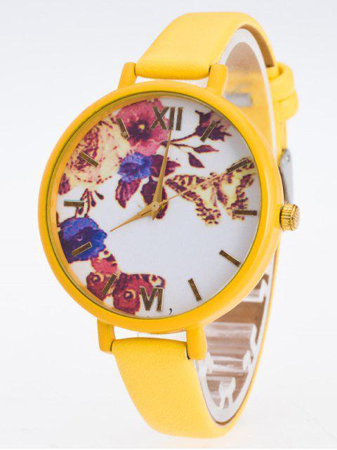 women's Faux Leather Flower Butterfly Watch - YELLOW  Mobile