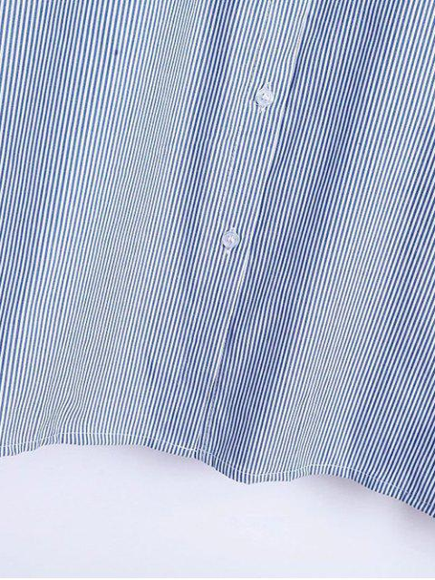 affordable Flare Sleeve Embroidered Striped Shirt - STRIPE L Mobile