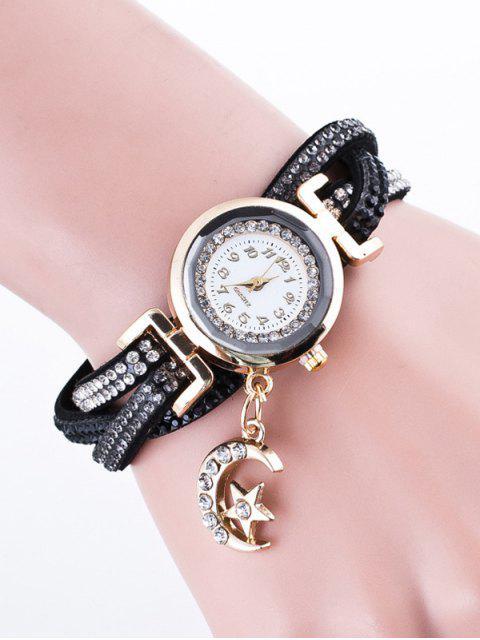 hot Rhinestone Studded Bracelet Watch - BLACK  Mobile