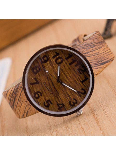 Kunstleder Holzmaserung Uhr - Hellbraun  Mobile