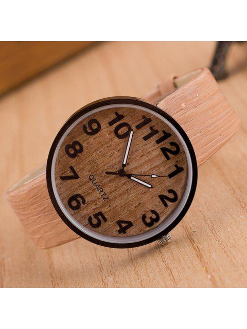 affordable Faux Leather Wood Grain Watch - COMPLEXION  Mobile