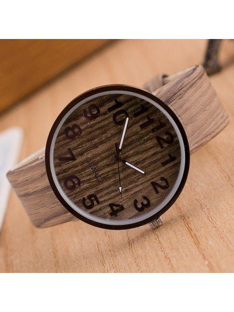 womens Faux Leather Wood Grain Watch - LIGHT COFFEE  Mobile