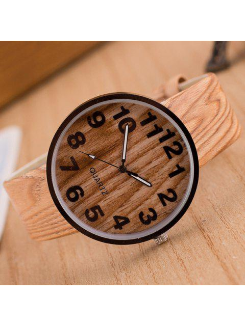 women Faux Leather Wood Grain Watch - PALOMINO  Mobile