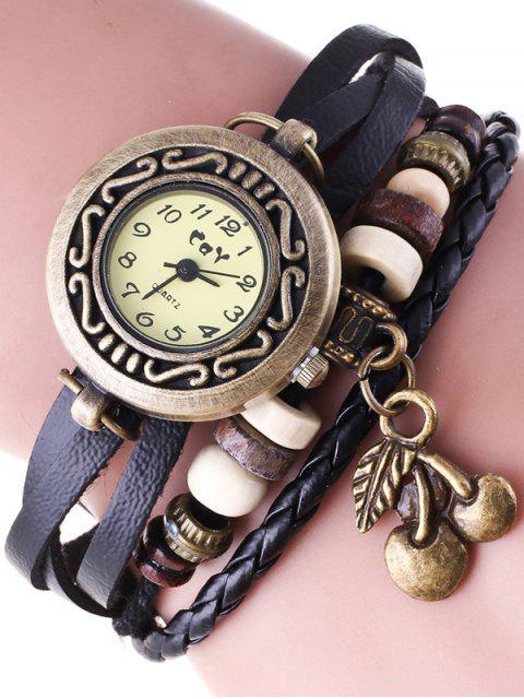 Montre bracelet en faux cuir - Noir  Mobile