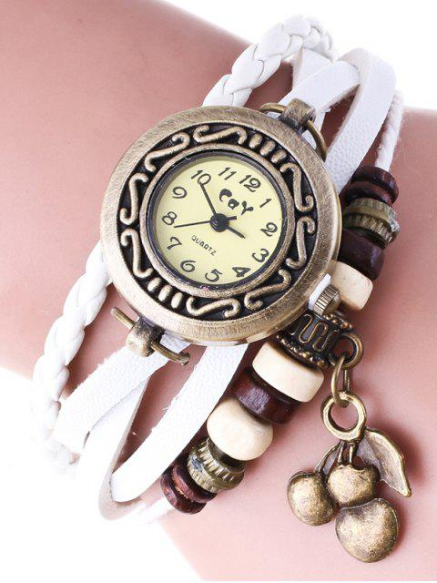 unique Braided Strand Bracelet Watch - WHITE  Mobile