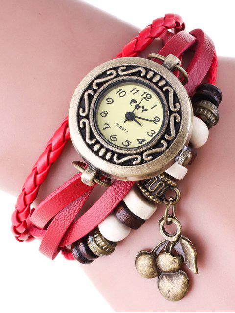 affordable Braided Strand Bracelet Watch - RED  Mobile