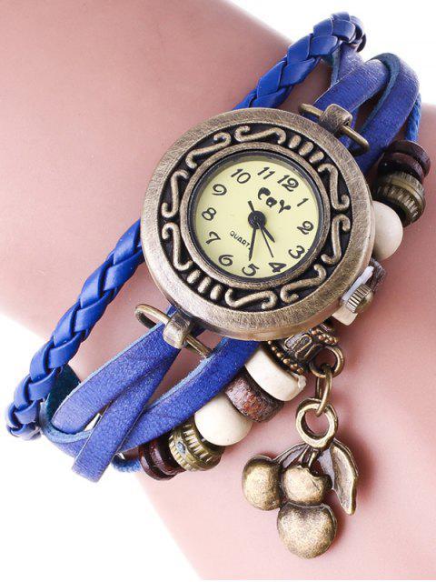 Montre bracelet en faux cuir - Bleu  Mobile