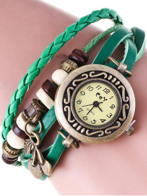 womens Braided Strand Bracelet Watch - GREEN  Mobile