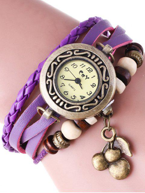 women Braided Strand Bracelet Watch - PURPLE  Mobile