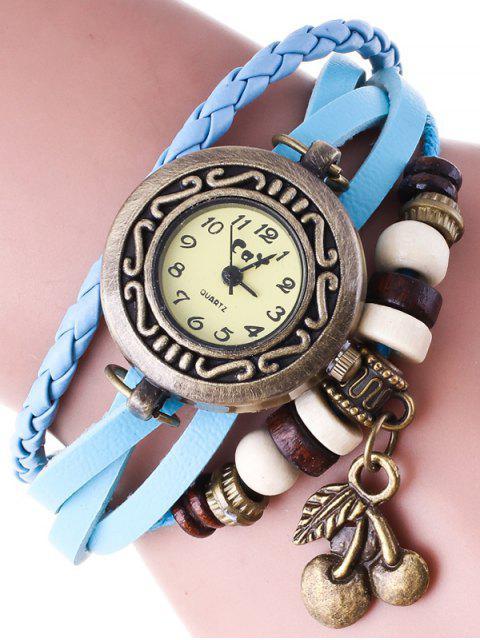 ladies Braided Strand Bracelet Watch - AZURE  Mobile