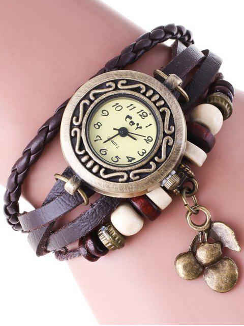 lady Braided Strand Bracelet Watch - COFFEE  Mobile