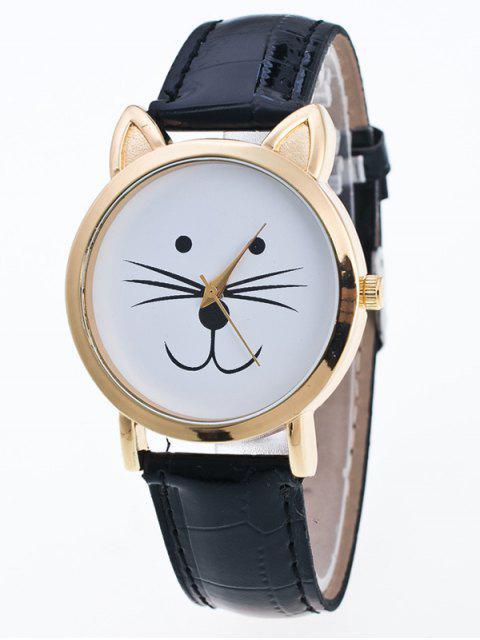 online Faux Leather Cartoon Cat Watch - BLACK  Mobile