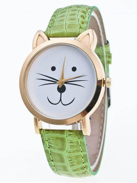shops Faux Leather Cartoon Cat Watch - GREEN  Mobile