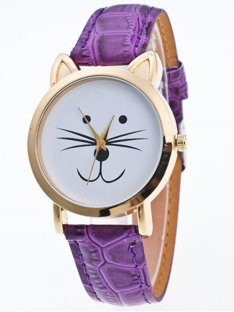 latest Faux Leather Cartoon Cat Watch - PURPLE  Mobile