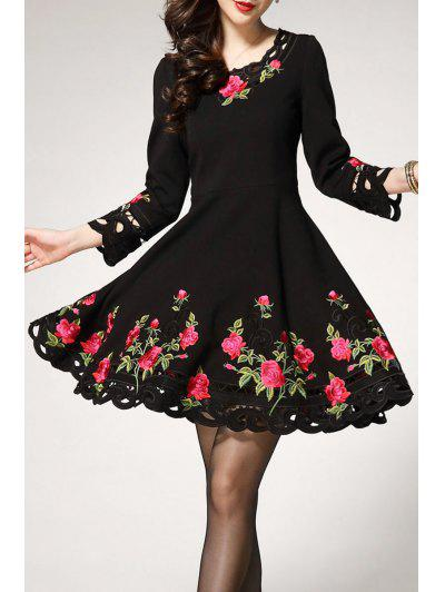 Long Sleeve Embroiedered Mini Dress