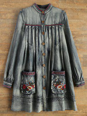 Denim Round Neck Long Sleeve A Line Dress
