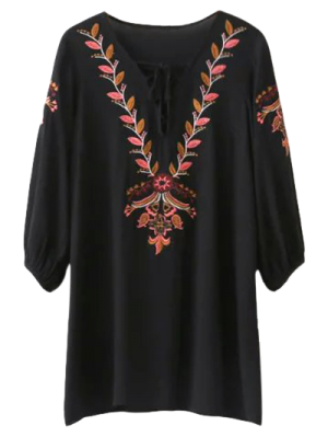 Embroidered Lace Up  Mini Tunic Dress - Black L