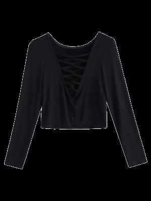Profundo Cuello En V Camiseta Recortada - Negro 2xl