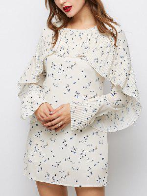 Flounce Ruffles Tiny Floral Mini Dress - Palomino L