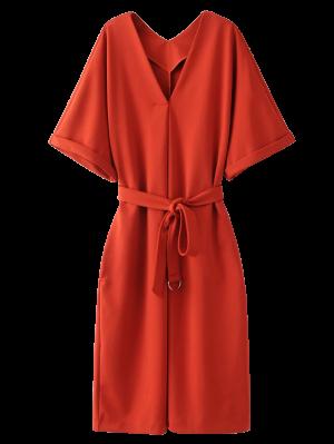 Tie Taille Kimono Robe Manches - Tangerine M