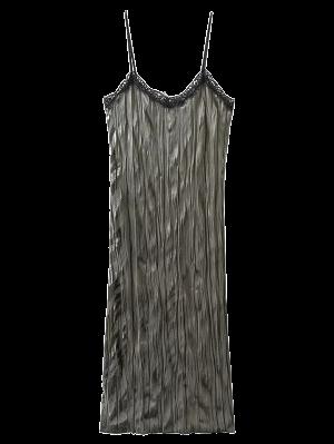 Vestido De Resbalón De Terciopelo Arrugado - Gris Oliva S