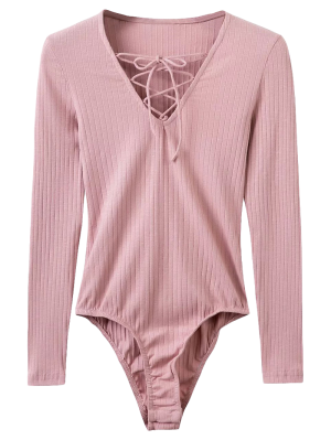 Skinny Ribbed Lace Up Bodysuit - Pink S