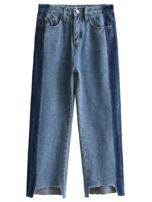 Frayed Mom Fit Jeans - Denim Blue M