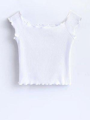 T-shirt Court à épaules Tombantes Avec Décoration De Falbalas - Blanc S