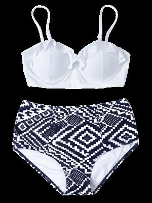 Bikini Taille Haute Imprimé Géométrique Avec Armature - Bleu Et Blanc M