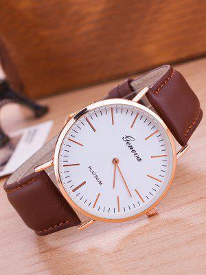 Faux Leather Band Analog Wrist Watch