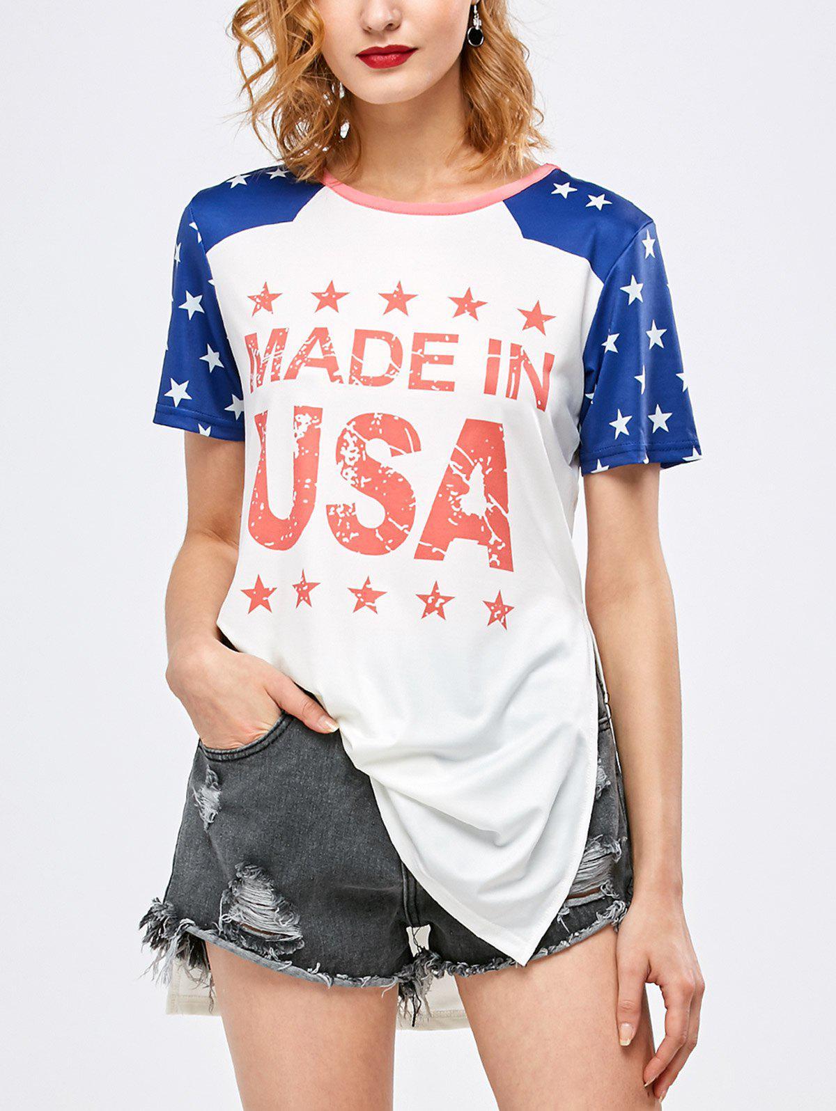 Side Slit Graphic Star Tunic T Shirt 204789204